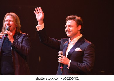 BROOKLYN, NY - JUNE 03: Viktor Drobysh (L) and singer Aleksandr Kogan (R) performs on stage during the Viktor Drobysh 50th year birthday concert at Barclay Center on June 03, 2017 in Brooklyn NY.