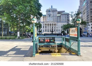 BROOKLYN, NY - JUNE 21, 2014: Brooklyn Borough Hall Subway Station entrance.