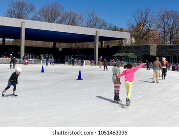 BROOKLYN, NY - MARCH 17, 2018: Children ice skating at the LeFrak Center at Lakeside ice rink in Prospect Park, Brooklyn.