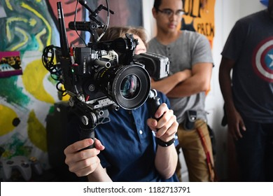 Brooklyn, NY; May 2018: Behind the Scenes of a cinematographer operating an Arri Alexa Mini on a film shoot