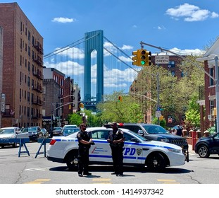 BROOKLYN, NY - May 27, 2019: NYPD is protecting the 152nd Annual Kings County Memorial Day Parade in Bay Ridge. The parade is held to pay tribute to U.S. service members killed in this nation's wars.