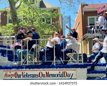 BROOKLYN, NY - May 27, 2019: Parade float in the 152nd Annual Kings County Memorial Day Parade in Bay Ridge. The parade is held to pay tribute to U.S. service members killed in this nation's wars.
