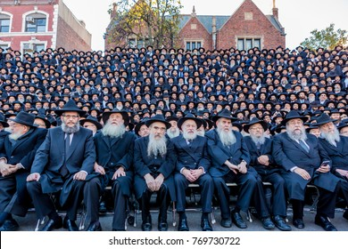 Brooklyn, NY - November 8, 2015: A group of shluchim, Jewish emissaries, at The Kinus Hashluchim, International Conference of Chabad-Lubavitch Emissaries, in Crown Heights, Brooklyn, NY.