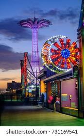 Brooklyn, NY - October 7, 2017 - Amusement park in Coney Island, Brooklyn, NY, USA