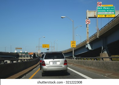 BROOKLYN, NY - SEPTEMBER 24, 2015: Exit from Verrazano Bridge to Belt Parkway in Brooklyn
