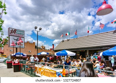Brooklyn, NY / United States - June 15, 2018: A landscape view of the landmark, L & B Spumoni Gardens. A famous pizzeria in Brooklyn.