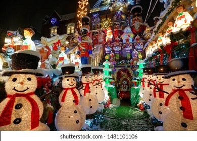 Brooklyn, NY, USA - December 09, 2017: Snow-covered decorations at Dyker Heights - a neighborhood in Brooklyn known for its extravagant displays every Christmas.