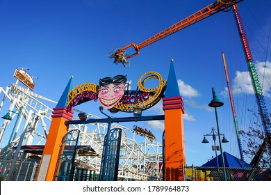 Brooklyn, NY / USA - July 11, 2016: Scream Zone Roller Coaster Entrance at Coney Island Luna Park.
