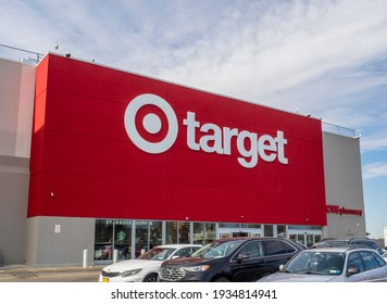 Brooklyn NY, USA - March 12, 2021: Target exterior. Retail store selling online and in-store everything from groceries and essentials to clothing and electronics.