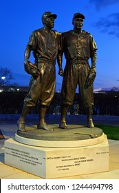 Brooklyn, NY, USA May 2 A statue in Brooklyn, New York captures the moment when Pee Wee Reese welcomed Jackie Robinson to the Brooklyn Dodgers
