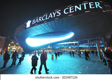 BROOKLYN, NY USA - November. 27. 2012: Barclays Center is multi-purpose arena which opened in 2012, home of Brooklyn Nets Basketball team and future home to NY Islanders.