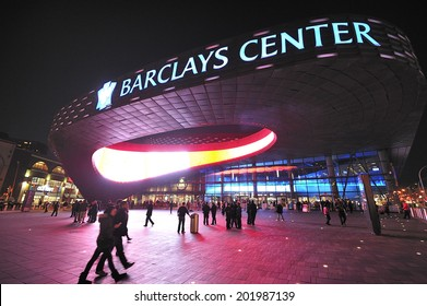 BROOKLYN, NY USA -?? November. 27. 2012: Barclays Center is multi-purpose arena which opened in 2012, home of Brooklyn Nets Basketball team and future home to NY Islanders.