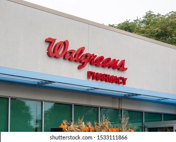 Brooklyn, NY, USA - October 11, 2019: Walgreens pharmacy exterior. Walgreens is an American company specializes in filling prescriptions, health and wellness products, health information, etc.