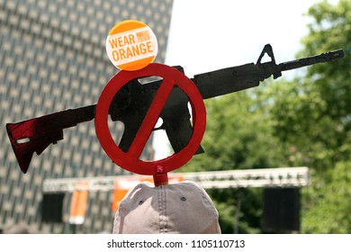 "Brooklyn, NY/USA - June 2, 2018: Thousands of gun control activists marched over New York's iconic Brooklyn Bridge on Saturday for the ""Youth over Guns"" march to protest gun violence."