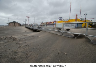 BROOKLYN, NY/USA - OCTOBER 30: The boardwalk in the aftermath of hurricane Sandy on October 30, 2012 in the Coney Island section of Brooklyn.