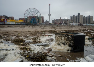 BROOKLYN, NY/USA - OCTOBER 30: Debris washed ashore in the aftermath of hurricane Sandy on October 30, 2012 in the Coney Island section of Brooklyn.