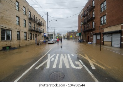 BROOKLYN, NY/USA - OCTOBER 30: Floodwaters remained in the street in the aftermath of hurricane Sandy on October 30, 2012 in the Coney Island section of Brooklyn.