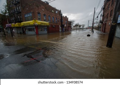 BROOKLYN, NY/USA - OCTOBER 30: Floodwaters from hurricane Sandy remain on the streets on October 30, 2012 in the Coney Island section of Brooklyn.