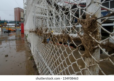 BROOKLYN, NY/USA - OCTOBER 30: The high water mark of hurricane Sandy on the fence surrounding the historic Cyclone roller coaster on October 30, 2012 in the Coney Island section of Brooklyn.