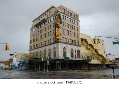 BROOKLYN, NY/USA - OCTOBER 30: The sign destroyed by hurricane Sandy on the historic and vacant Shore theater on October 30, 2012 in the Coney Island section of Brooklyn.