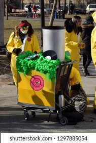 Brooklyn, NY/USA-1/26/19: Idiotarod NYC XV. Participants race decorated shopping carts around locations in Brooklyn. Toxic Masculinity Decontamination team.