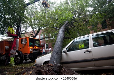 BROOKLYN, NY/USA-AUGUST 28: The aftermath of hurricane Irene on August 28, 2011 in the Windsor Terrace section of Brooklyn.