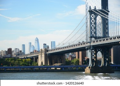 Brooklyn, USA - June 09, 2019: Relaxing place Brooklyn Bridge Park with beautiful panoramic view to Manhattan