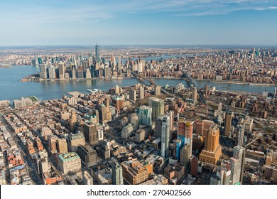 BROOKLYN,NY - APRIL 5:Aerial view of Brooklyn with downtown Manhattan in the background on april 5,2015.It is the most populous of New York City's five boroughs, with about 2.6 million people