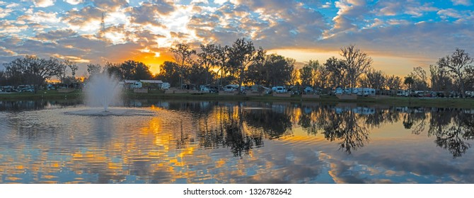 BROOKSVILLE, FL/USA - FEBUARY 17, 2019 Belle Parc RV Resort at sunrise. Belle Parc is a 270-site park for recreational vehicles,  located on U.S. Highway 41 in west-central Florida.