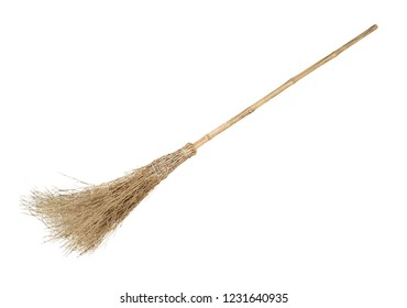 Broom with bamboo handle isolated on white background