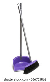 Broom and dustpan on white background