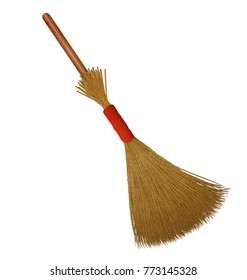 Broom with short wooden handle over white background