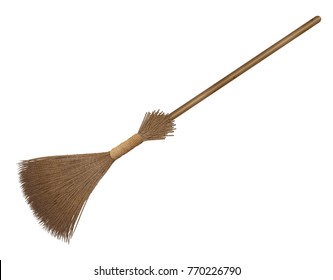 Broom with wooden handle over white background