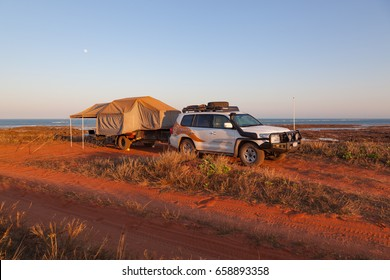 Broome, Australia - Sep 14 2011: The road to Cape Levique  can be very rough and corrugated requiring a good off road camper and 4WD. The road is being sealed in 2017