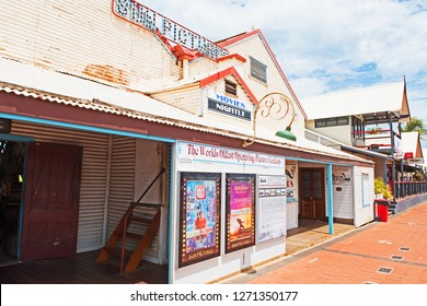 Broome, Western Australia/Australia - January 1 2019: Sun Pictures Movie Theatre in the center of Broome was built in 1913 and claims to be the world's longest-running outdoor cinema.