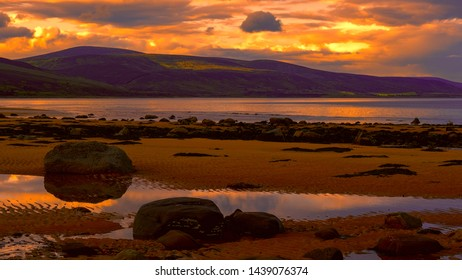 Brora beach in Sutherland under a late evening sky