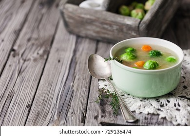 broth with Brussels sprouts, carrots
