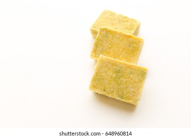 Broth cube, Bouillon cubes, isolated on white.