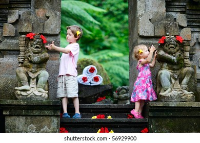 Brother and little sister on Bali vacation