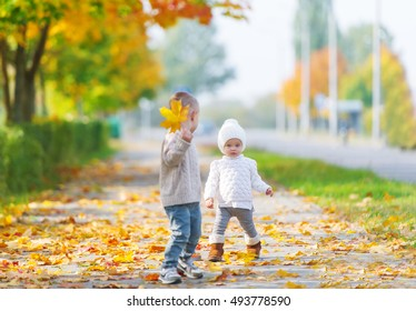 The brother and the little sister play in the autumn park. The boy holds a maple leaf in hand.