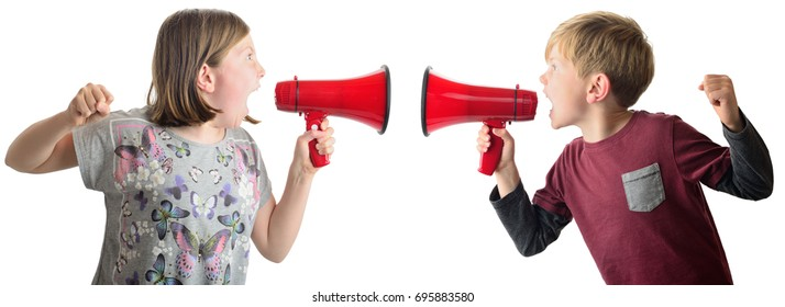 brother and sister arguing isolated on a white background