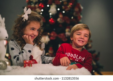 Brother and sister, Christmas concept