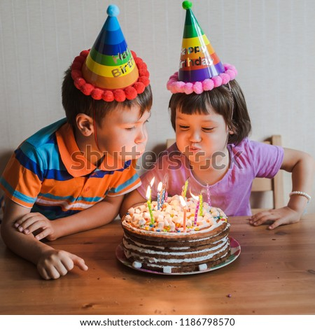 Brother Sister Eating Birthday Cake Candles Stock Photo Edit Now