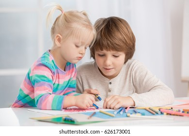 Brother and Sister Family Relationship Love Care Concept