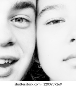 Brother and sister friends teenagers close-up portrait