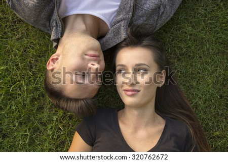 Brother Sister Funny Expressions Laying Grass Stock Photo Edit Now