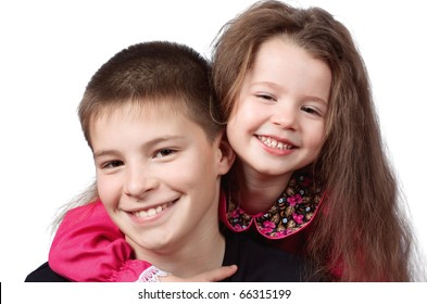 The brother with sister  on white background
