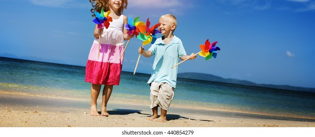 Brother Sister Playing Togetherness Beach Concept