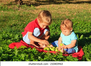 brother and sister sorting apples in summer park
