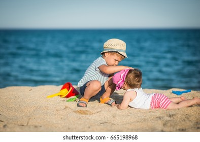 Brother and sister spending their vacation at  summer resort